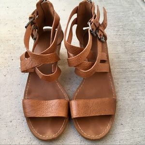 Madewell tan genuine leather block heel sandals